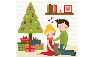 卡通圣诞夫妇矢量素材_漫品购_mg动画短片素材_flash