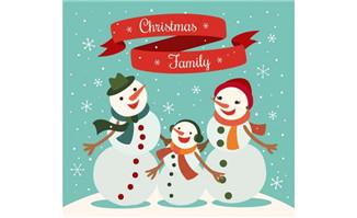 卡通圣诞雪人一家矢量图