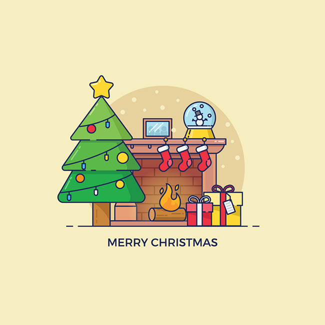 卡通圣诞元素装饰客厅矢量图_flash二维动漫素材创意.