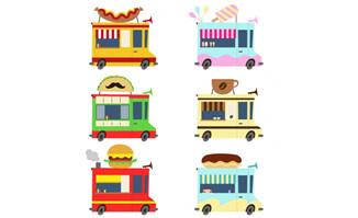 6款卡通食物快餐车矢量素