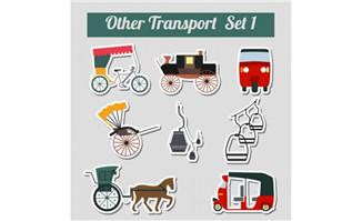 9款交通工具贴纸矢量素材