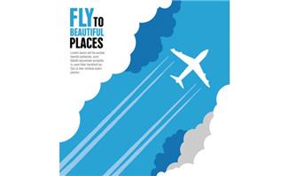 穿过云层的飞机矢量素材