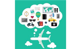 创意飞机旅行背景矢量素