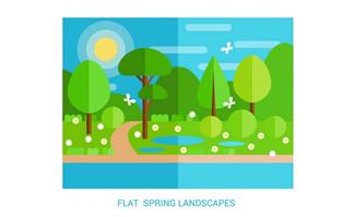扁平化春季风景矢量素材
