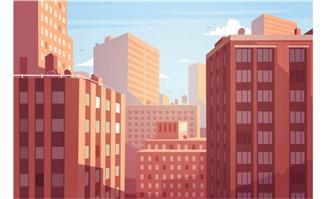城市楼群风景插画矢量素