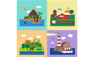 4款度假风景插画矢量素材