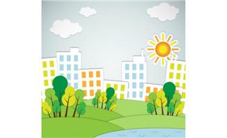创意房屋绿树剪贴画矢量