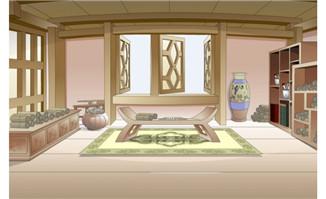 flash动画场景书房