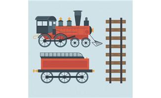 蒸汽火车和轨道矢量素材