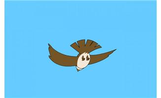 背面小鸟从近到远飞翔f