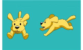 小狗正侧面奔跑flash动画
