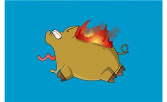猪被火烧惊慌惨叫flash动画