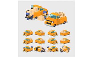 黄色货车矢量素材