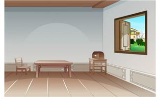 flash动画场景古代简朴室内