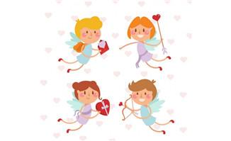 4款可爱情人节天使矢量图