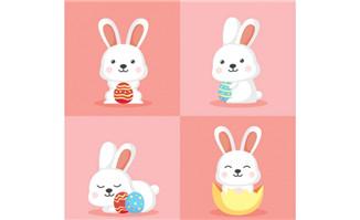 4款可爱白色抱彩蛋的兔子矢量素材_flash二维动画素材mg动画制作矢量