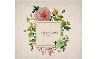 复古花园玫瑰花标签矢量