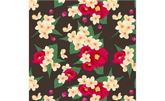 艳丽花卉无缝背景矢量素