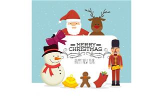 圣诞老人和雪人插画矢量