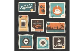 9款复古咖啡邮票设计矢量