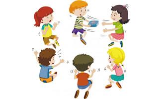 卡通儿童围在一起做游戏