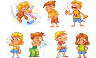 卡通儿童生病的孩子矢量