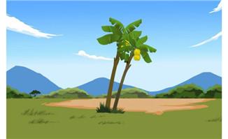 香蕉树树立在山边flash动画