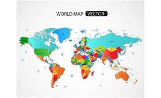 彩色世界地图矢量素材