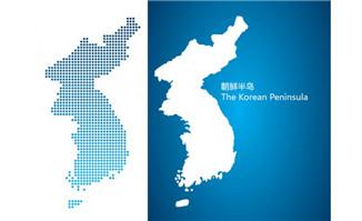 朝鲜半岛地图矢量素材免