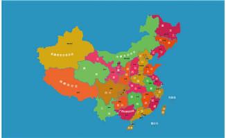 多彩色块中国地图矢量图