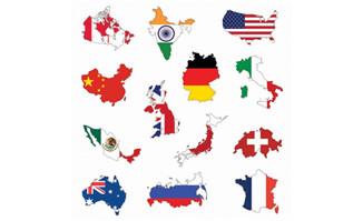 各国版图与国旗矢量素材