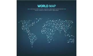 光点连线世界地图矢量图