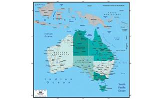 精美矢量世界地图素材-澳