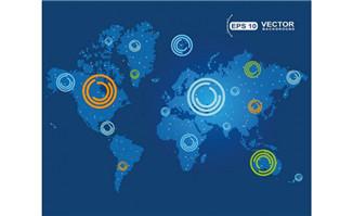 科技环与世界地图矢量图