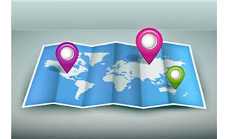 世界地图与地标矢量素材