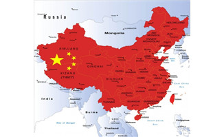 中国地图与国旗矢量图片