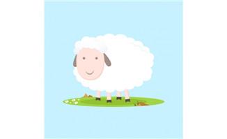 白色卡通绵羊矢量素材_flash二维动画素材mg动画制作矢量图素材扁平化