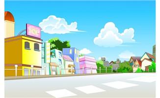 flash 动画场景设计房屋街道外面的公路设计图图片