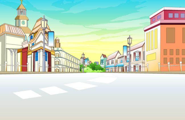 flash 动画场景设计房屋街道外面的公路设计图