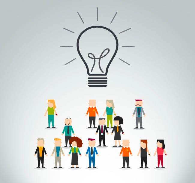 扁平化商务人群与灯泡矢量素材