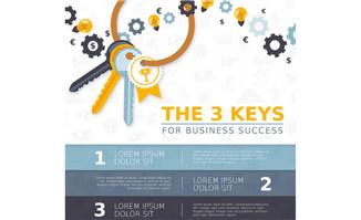 扁平化钥匙商务信息图矢