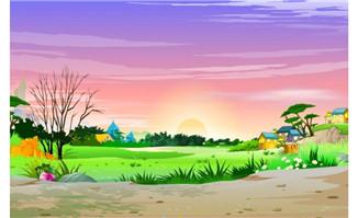 乡村狂野的房屋及夕阳西