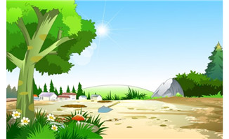 flash动画素材 矢量图  flash场景古代外景乡村,动漫卡通,设计素材