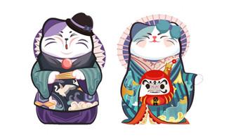 手绘日本风格招财猫素材