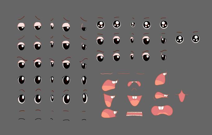 flash角色各种动态眼睛及嘴巴动素材动画免费下载图片