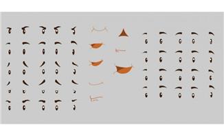 Flash动画素材表情老太太眼睛及嘴动态动作素材下