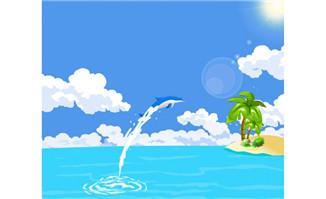 海豚跳水水花飞溅flash动画