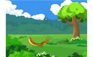 松鼠草丛中跳跃flash动画