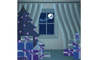 4款可爱圣诞老人设计矢量素材_flash二维动画素材mg动画