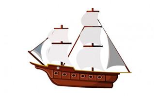 扬帆的船只扁平化风格f